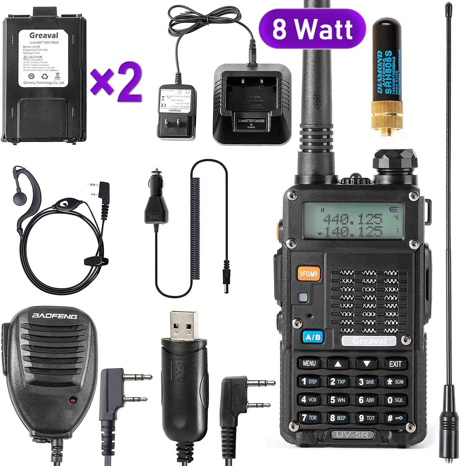 Ham Radio Walkie Talkie (UV-5R 8-Watt) UHF VHF Dual Band 2-Way Radio